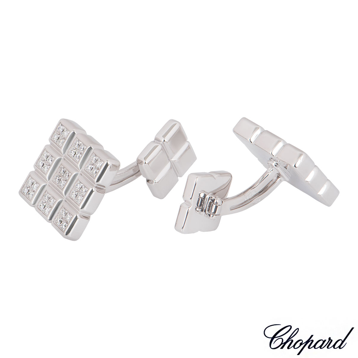 Chopard White Gold Diamond Ice Cube Cufflinks 75/4099/0